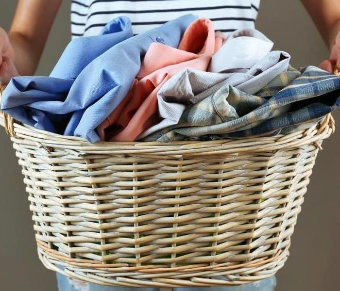 Clothing in a laundry basket