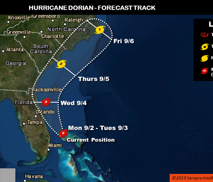 east coast map showing Hurricane Dorian