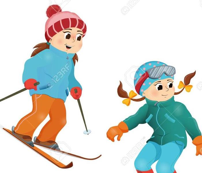two children skiing and snowboarding